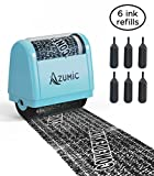 Identity Theft Protection Roller Stamp 6 Pack Refills - Confidential Address Blocker Anti Theft Prevention Stamps - by Azumic (Light Blue)