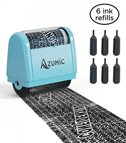 - Azumic Confidential Address Blocker Anti Prevention Identity Theft Protection Roller Stamp 6 Pack Refills, Light Blue