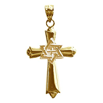 Amazon 14k yellow gold cross with star of david pendant 29 mm 14k yellow gold cross with star of david pendant 29 mm aloadofball Gallery