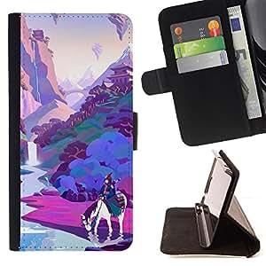 For Samsung Galaxy E5 E500,S-type Violet - Dibujo PU billetera de cuero Funda Case Caso de la piel de la bolsa protectora