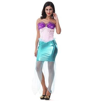 2c2c89e1fba91 ウィッグ 付き アリエル 風 マーメイド ドレス コスチューム 3点 セット 人魚 姫 ワンピース