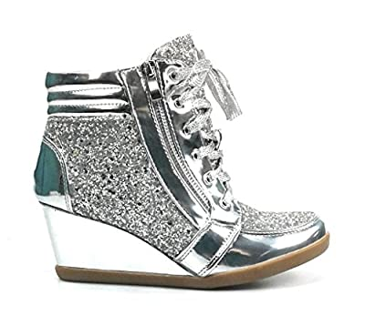 Forever Link Women's Glitter Fashion Sneakers (8.5, Silver Peggy-44)