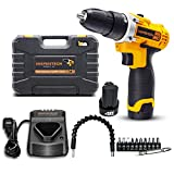 Cheap Inspiritech 12V Cordless Drill/Driver Variable Speed 3/8Inch Keyless Chuck 16 Clutch Positions with 2 Lithium Ion Batteries and Charger, Front LED Light ,12 Accessories