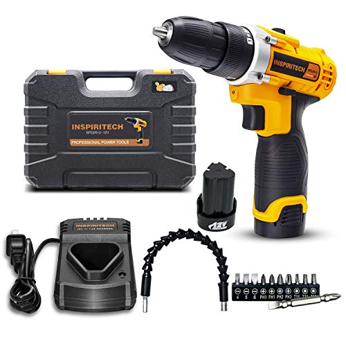 Cordless Electric Drill/ScrewDriver12Volt 2 Speed 3/8Inch Keyless Chuck 15+1 Clutch Positions with 2 Rechargeable Lithium Ion Batteries, Front LED Light,11Pcs Drill Bits Set and Flexible Shaft