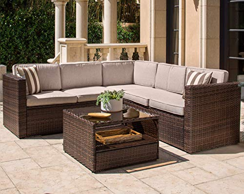 Solaura Outdoor 4-Piece Sofa Sectional Set All Weather Brown Wicker with Beige Cushions & Glass Coffee ()