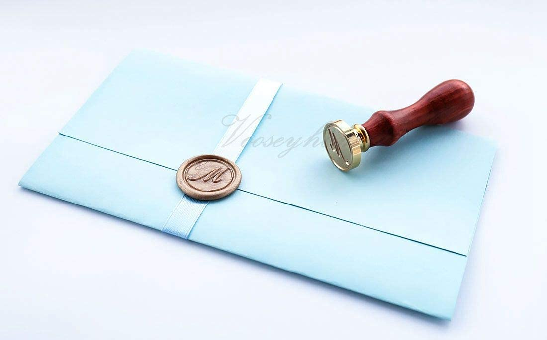 Decorating on Gift Packing Invitation Envelope Letter Card Book for Birthday Themed Parties Weddings Signatures VOOSEYHOME Initial Handwritten Letter Alphabet A Wax Seal Stamp with Rosewood Handle