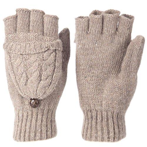 (Metog Women Warmer 100% Wool Winter Gloves Mittens Brown)