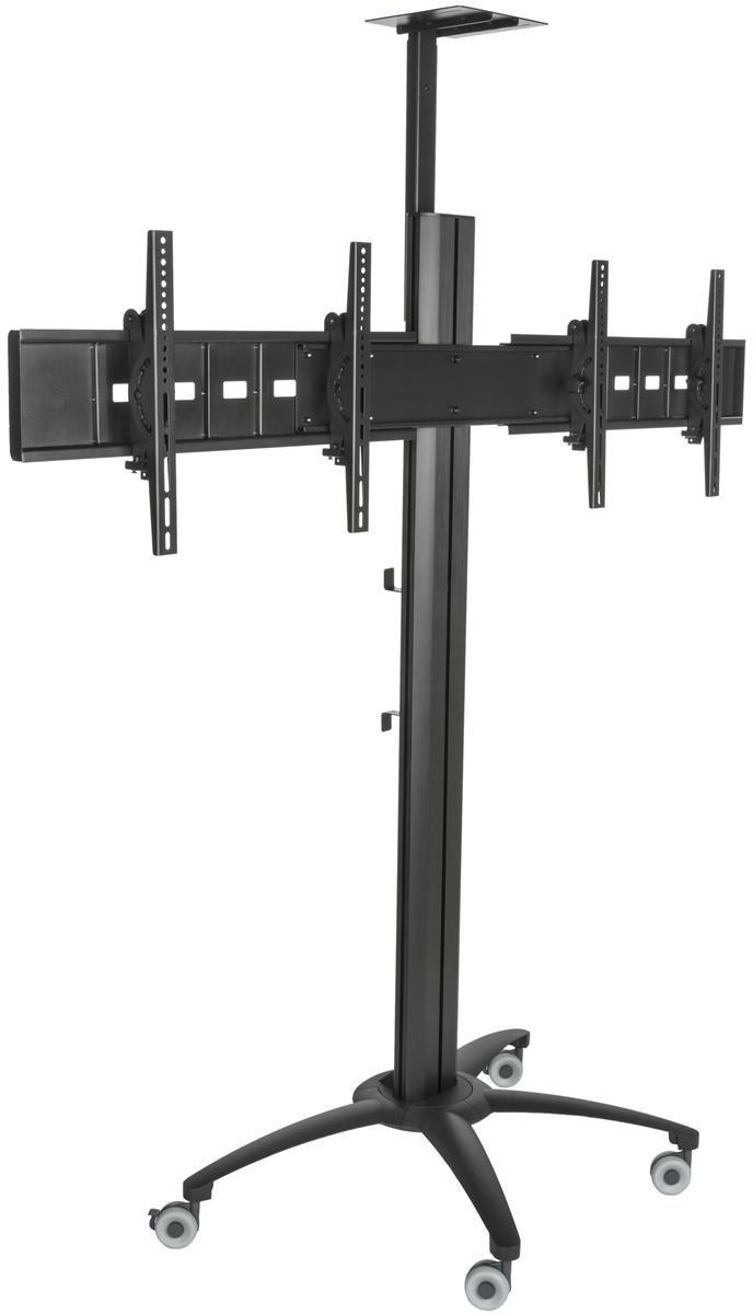 Displays2go LPGP36WB2S Dual TV Stand for 30-60'' Monitor Screens, Camera Mount, Rolling