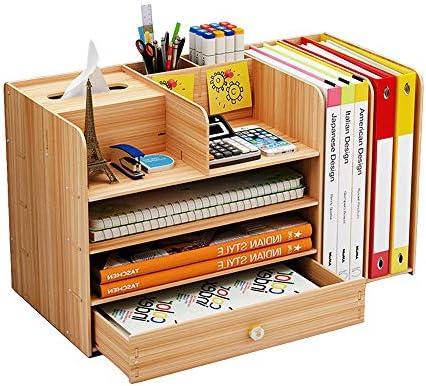 Aktenordner aus Holz, multifunktionaler Schreibtisch-Organizer im A4-Format mit Schublade, Stifthalter für Zuhause, Bürobedarf Kirsche