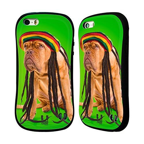 Head Case Designs Rastafarian Dog Dreadlocks Funny Animals Hybrid Gel Back Case for Apple iPhone 5 5s
