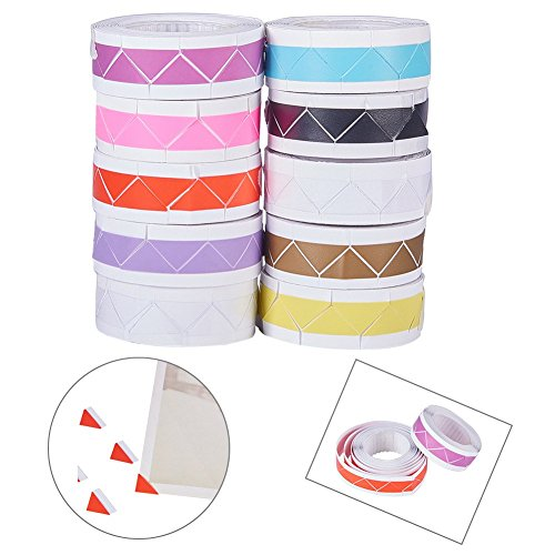 NBEADS 10 Rolls Mixed Color DIY Photo Corners Self Adhesive Picture Mounting Corner Stickers for DIY Scrapbooking, Picture Album, Personal Journal, Diary and More by NBEADS