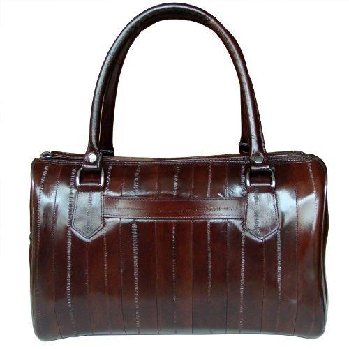 Eel Skin Purse (Women's Genuine Eel Skin Dainty Tote Bag Boston Bag (Dark brown))