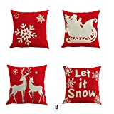 "Naladoo 4Pcs/Set Old Fashioned Merry Christmas Cotton Linen Pillow Cover Square Burlap Decorative Throw Pillowslips Cushion Cover Pillowcases with Christmas Tree Santa Claus Christmas Deer Element 18""x18"" (Series 5)"