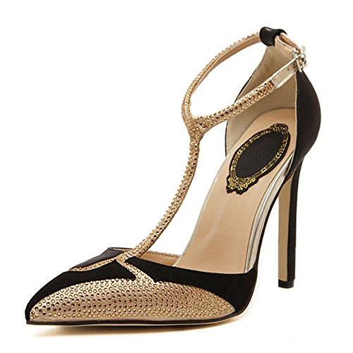 Diamante A Sandalo Stiletto Colorblock Nero Per strap La Partito Punta Fereshte Sexy Moda Donna T Sera Pompa qYwvERH