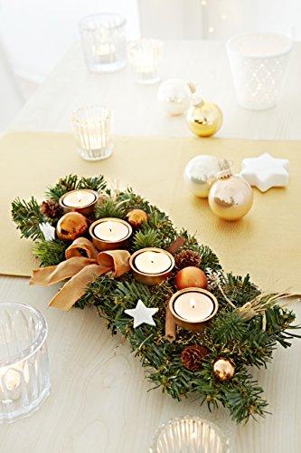 Heitmann Deco 90086 Advents-Kerzenhalter und Gesteck für 4 Teelichter, Metall, gold / kupfer, 41 x 16 x 8 cm