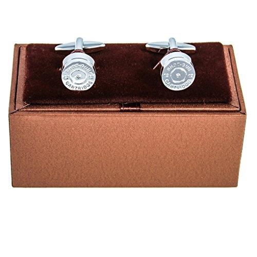 MRCUFF Bullet Shell Casing Police Pair Cufflinks in a Presentation Gift Box & Polishing Cloth (Bullet Shell Cufflinks)