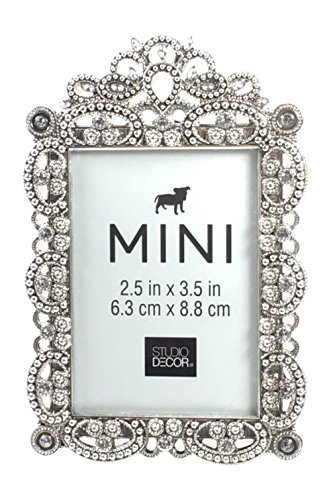 (Bejeweled Silver Tone Metal Mini Picture Frame, 2.5