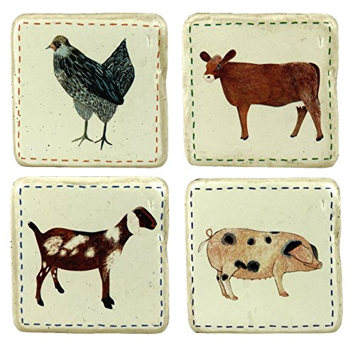 - Farm Animal Urban Homestead Coaster Set with Box Holder