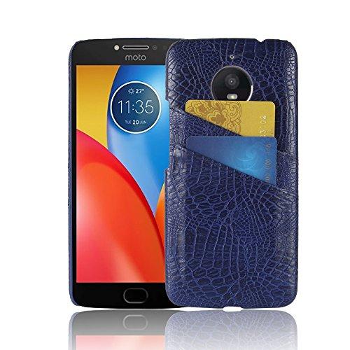 Excelsior Premium Leather Card Holder Back Cover Case for Motorola Moto E4 Plus    Blue
