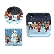 Peanuts Gang Charlie Brown Snoopy Christmas Party Pack (Plates and Napkins) 8 Guest Bundle