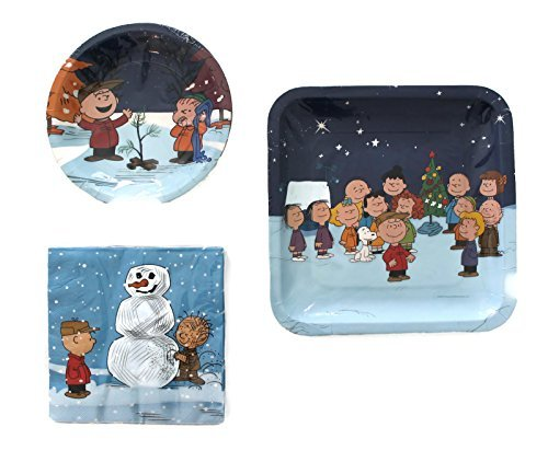 Peanuts Gang Charlie Brown Snoopy Christmas Party Pack Plates And Napkins 8 Guest Bundle
