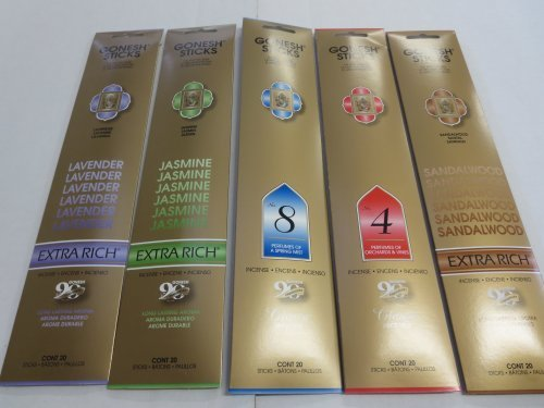 Gonesh Incense Sticks Variety Value Pack (100 Sticks) Lavender/Sandalwood/Jasmine/Spring Mist/ Orchard & Vines by Gonesh