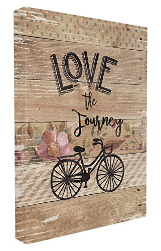 Stupell Home D cor Enjoy the Journey Bicycle and Flowers Stretched Canvas Wall Art, 16 x 1.5 x 20, Proudly Made in USA