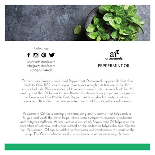 ArtNaturals Peppermint Essential Oil 4 oz -100% Pure and Natural Premium Therapeutic Grade Mentha Peperita - Best Fresh Scent for Home & Work, Perfect for Aromatherapy, Relaxation, Skin Therapy by ArtNaturals (Image #2)