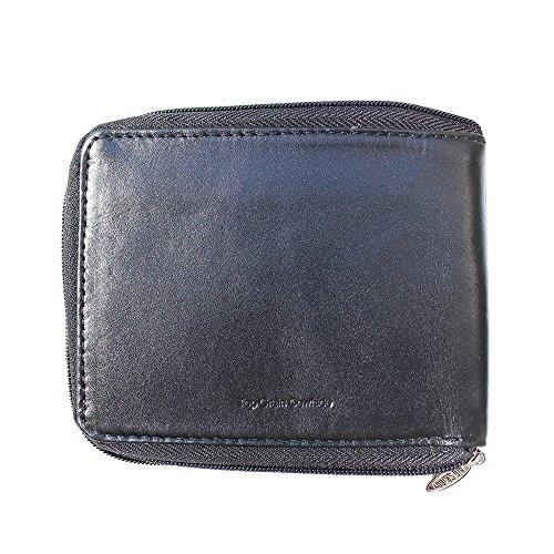Big Skinny Herren zipfold Leder Einbruchfalz Slim Wallet, für bis zu 25Karten, schwarz