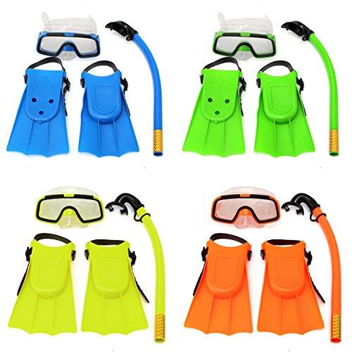 Bazaar Junior Children Snorkeling Set Snorkel Mask Goggles Flippers Scuba Swimming Diving Kids Set