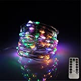 LEDLuces 10M/33ft 100 LEDs String Lights, USB Powered Low Voltage Waterproof 8 Modes With Remote Control For Decoration - Silver Wire(RGB)