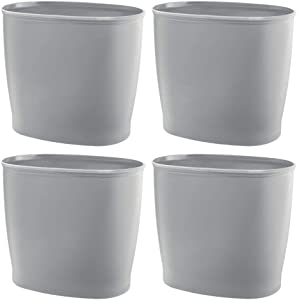 mDesign Modern Oval Plastic Small Trash Can Wastebasket, Garbage Container Bin for Bathroom, Kitchen, Laundry Room, Home Office, Dorms - 4 Pack - Gray