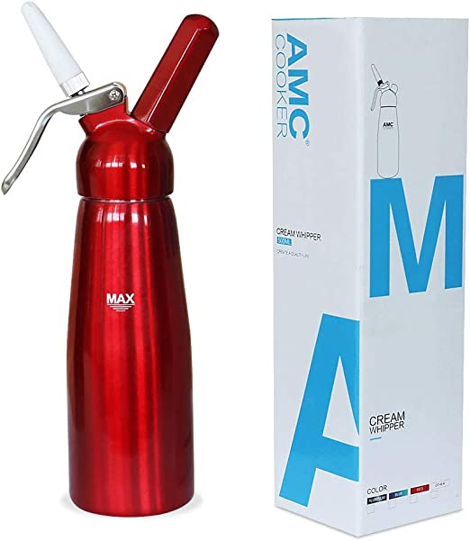 Aquamarine AMC Professional Whipped Cream Dispenser with 3 Nozzles and Bonus Dispenser Cleaning Brush Whipped-Cream-Dispenser-Whipper-Canister//Use with N2O cream chargers not included