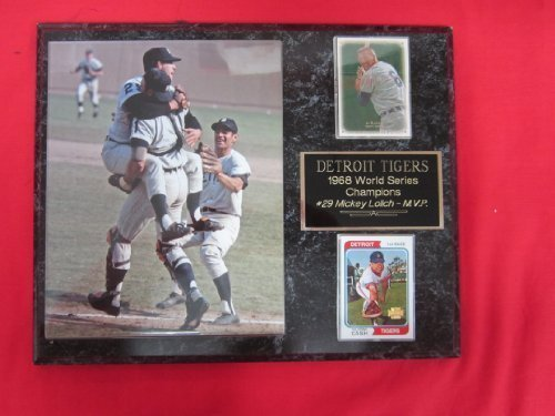 (Tigers 1968 World Series Champions 2 Card Collector Plaque w/ 8x10 Vintage Photo)