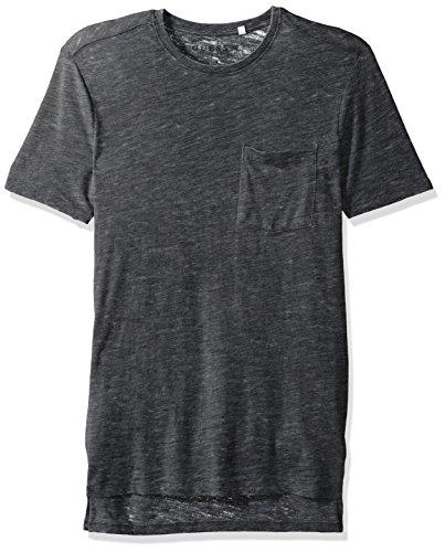 GUESS Men's Myer Slub Burnout T-Shirt, Jet Black Multi, - Men Myer