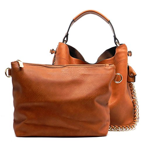 with Brown 2 Strap in Americana Bag Hobo Chain Bucket Big Bag Shoulder 1 Style qTRXxOwF