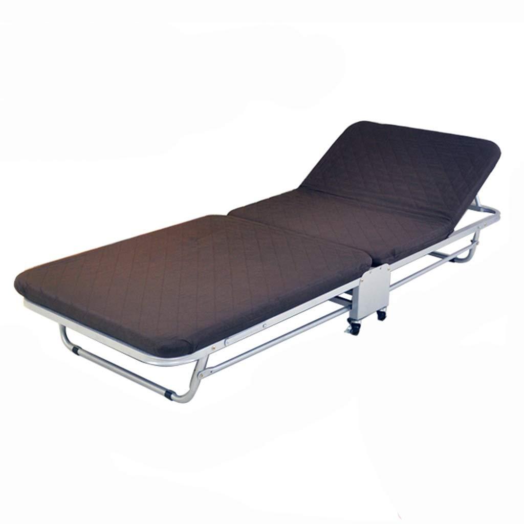 GuanBed Office Nap Bed 2-Fach Einfache Klappblätter People Lunch Break Weiches und bequemes Klappbett Tragbares Klappbett (Color : Brown, Size : 75cm)