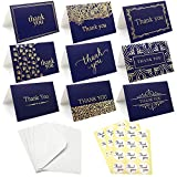 Thank You Cards Notes,36 PCS Blue Thank You Gift Cards with Envelopes and White Thank You Stickers,9 Patterns Thank You Greeting Cards for Christmas,Thanksgiving Day, Mother's Day Invitation Cards