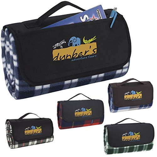 Good Value Roll-Up Picnic Blanket Brown/Blue Plaid 144 Pack