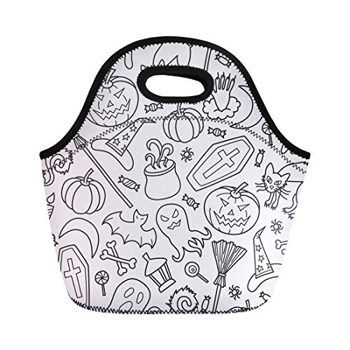 Semtomn Lunch Bags Abstract Candy Halloween in of Doodle and Cartoon October Neoprene Lunch Bag Lunchbox Tote Bag Portable Picnic Bag Cooler -