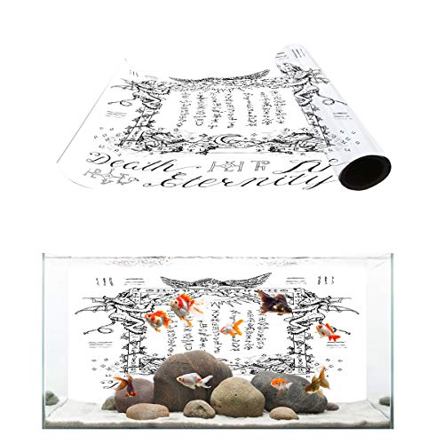 Fantasy Star Aquarium Background Gothic Sayings Death Live Eternity Fish Tank Wallpaper Easy to Apply and Remove PVC Sticker Pictures Poster Background Decoration 16.4