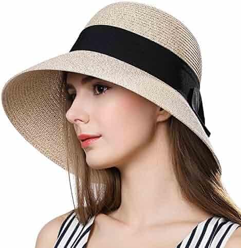 7b57f7b8ea3 Packable Straw Sun Fedora Floppy Summer Beach Panama Derby Cloche Hat for  Women