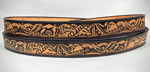 Leather Belts Embossed Eagles In The Wild Design 1 1/2