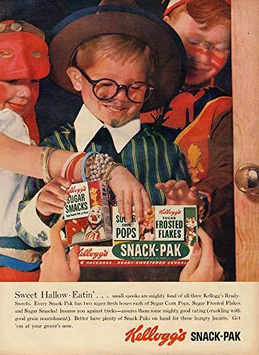 Sweet Hallow-Eatin' Kellogg's Snack-Pak Cereal ad 1955 Halloween -