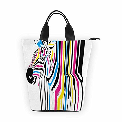 InterestPrint- Modern Abstract Zebra Lunch Tote Bag,Waterproof Portable Nylon Shopping Handbag,Reusable Bento Lunchbox Grocery Bag for Men Women Adult Child Girls Boys -