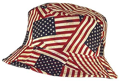 Tropic Hats Adult Americana American Flag Lightweight Bucket Cap (One Size) ea2e8d2e926d