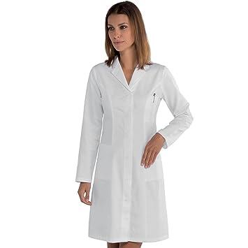 Bata de mujer para médico, farmacéutica, herborista, de algodón. Modelo clásico, de hospital bIANCO Large: Amazon.es: Hogar