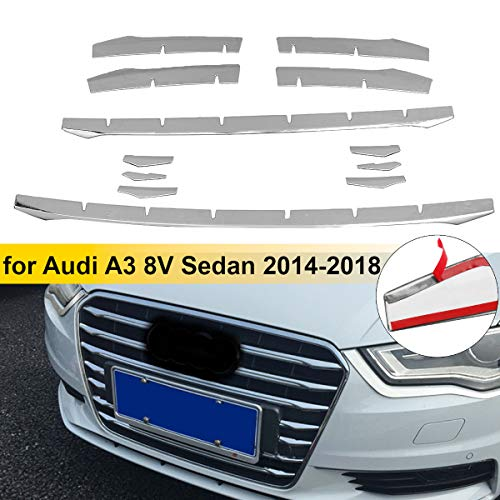 12pcs Stainless Steel Front Bumper Air Grille Grill Decor Cover Trim Car Front Fog Lamp Strips For Audi A3 8v Sedan 2014-2016 (Push Button Stainless Steel Grill)