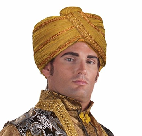 East Indian Halloween Costumes (Maharaji Sultan Sheik Turban Headdress Wisemen Hat Costume Accessory Gold Beads)