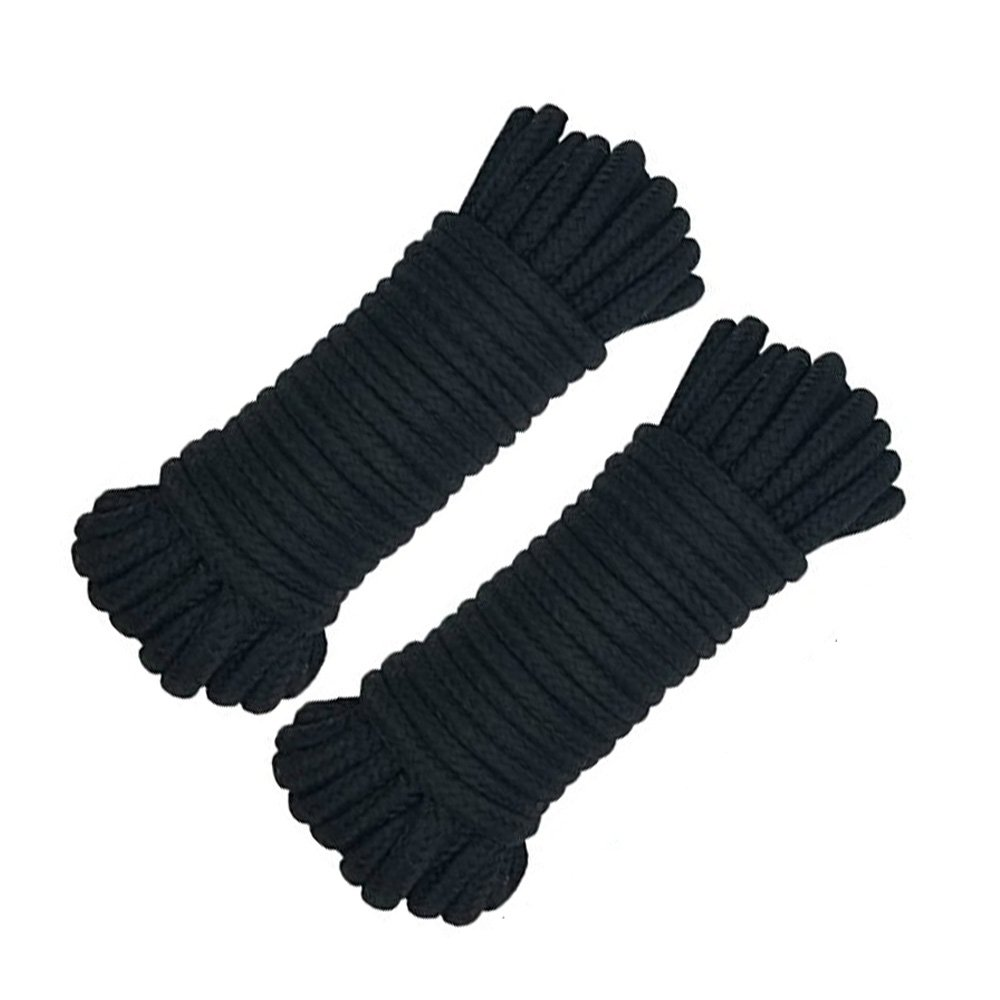 Yitongxing 32feet (8mm) Black Soft Cotton Rope Long All Purpose Twisted Sex Restraint Cotton Black Sex Ropes (32ftx2)
